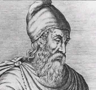 Litra de Hierón II de Siracusa. Poseidón / tridente. Arquímedes y la corona del rey. Arquimedes